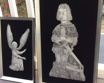 Vintage Metal Religious Icon Reliefs, Two Framed Reliefs, Metal Angel On Velvet Birmingham Gallery, John McKinney