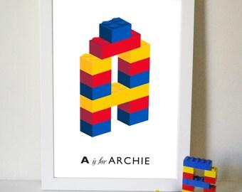 Personalised Building Block Initial Name Print