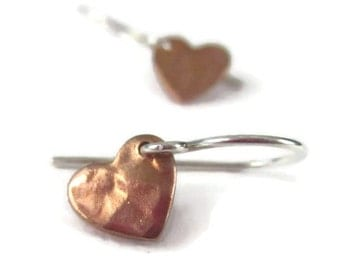 Tiny Heart Earrings Rose Gold Sterling Silver Hammered Dangle Earrings Mixed Metal Valentines Gift