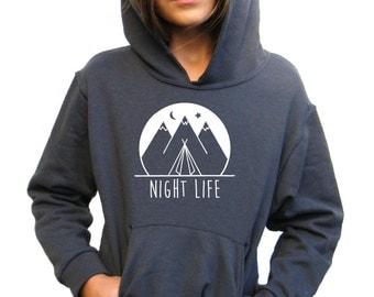 Girls Hoody - Camping Design - Night Life - Available in S, M, L, XL - 5yo, 6yo, 7yo, 8yo, 9yo, 10, yo, 11yo, 12yo