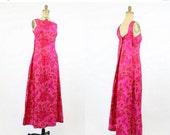 SALE 60s Dress Silk XS - Small / 1960s Vintage Floral Butterfly Cape Dress / Garden Breeze Dress