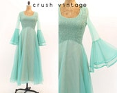 60s Jack Bryan Dress Small - Medium / 1960s Vintage Bell Sleeve Maxi Gown / Aquamarine Maxi Dress