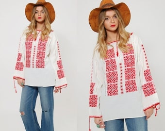 Vintage 70s EMBROIDERED Peasant Top White Cotton Hungarian Floral HAND STITCHED Boho Tunic Hippie Blouse Gypsy Tunic
