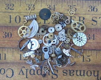 Vintage WATCH PARTS gears - Steampunk parts - d67 Listing is for all the watch parts seen in photos