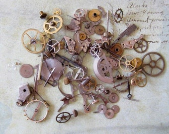 Vintage WATCH PARTS gears - Steampunk parts - d55 Listing is for all the watch parts seen in photos