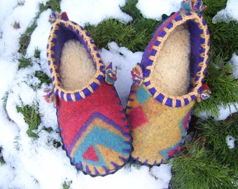 Cozy Night Scuffs- Felted Thick Blanket Wool / Sheepskin & Leather Soles Moccasins / Slippers - Women's or Men's Sizes