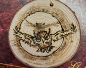 Wood burned Flying Owl,Hedwig, Harry Potter