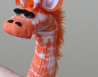 SALE Tie Dye Giraffe Sock Puppet