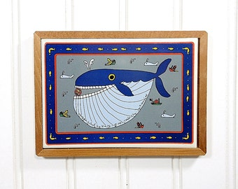 1982 Vintage Whale Ocean Decor | Nautical Cottage | Navy Blue | Art Tile Trivet | Wood Framed Wall Hanging | Fish Navy Blue | San Francisco