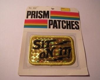 Laser Prism Patch SIT on IT Disco 1970s 1980s NOS black gold hologram shiny slogan