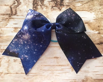 Galaxy cheer bow 3 inch grosgrain ribbon stars team extra large big bang space dance nerdy outerspace birthday