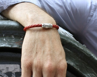 Red Leather Bracelet with Magnetic Clasp / Mens and Womens Leather Bracelet / Skye