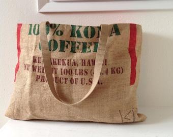 Hawaiian Coffee Burlap Market Tote/ Beach Bag