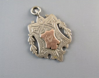 13.1 gram Antique Victorian English Birmingham sterling silver and rose gold fob for pocket watch chain 1899 signed Joseph Willmore
