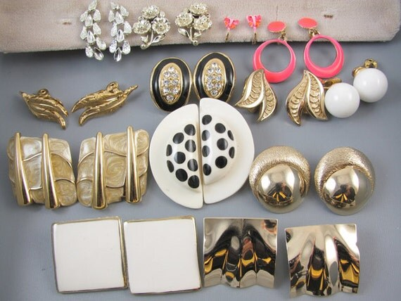 Bakers Dozen 13 pair vintage clip on earrings / screw back / Coro / ceramic  / rhinestone / hoop / button / wing / enamel / dome / Monet