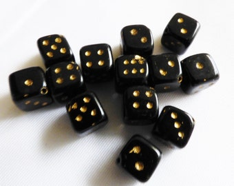 Black glass Dice Cube beads lot of 13