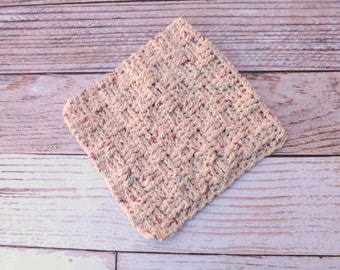 Cotton Dishcloth - 100% cotton dishcloth - textured ecru cotton washcloth - ecru dishrag - basket weave washrag - housewarming gift