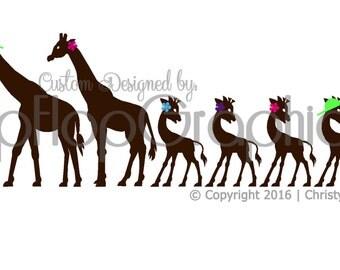Giraffe Family Sticker, Vinyl Graphic