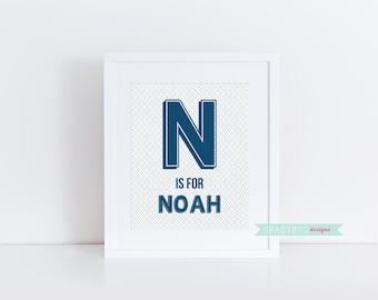 Personalized Name Print, Custom Name Printable, Wall Decor, Nursery Wall Decor, Monogram, Blue, Boy Monogram Print, Baby Monogram
