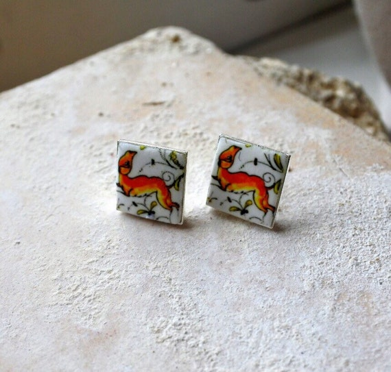 COIMBRA Portugal 17th Century Blue Pottery Post Stud Earrings,  -DEER  Silver Plated or Brass