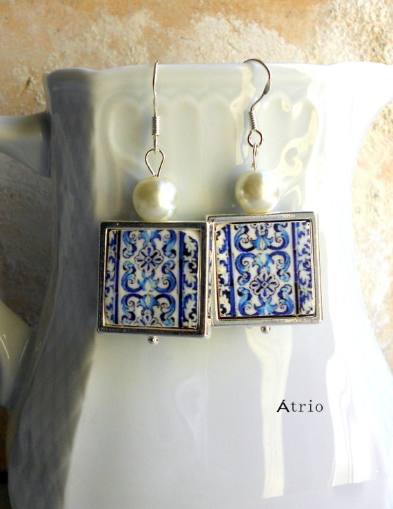 Portugal Blue Azulejo Tile 925 SILVER FRAMED Earrings AvEIRO Santa Joana Convent 1458 -Waterproof and Reversible 543 SILVER