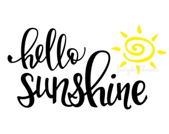Hello Sunshine - door decal - wall decal - bathroom mirror decal - vinyl lettering with sun wall decal - script style letters - dorm decal