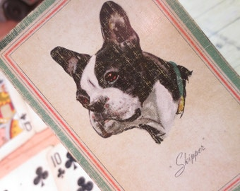 Vintage 1940's Adorable Dog Boston Terrier Lot of 6 Trade / altered art / greeting cards
