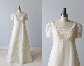 Vintage Lace 1960s Wedding Dress /  Empire Waist / A-Line / Modest / Short Sleeves  / Silk / Priscilla of Boston Boutique