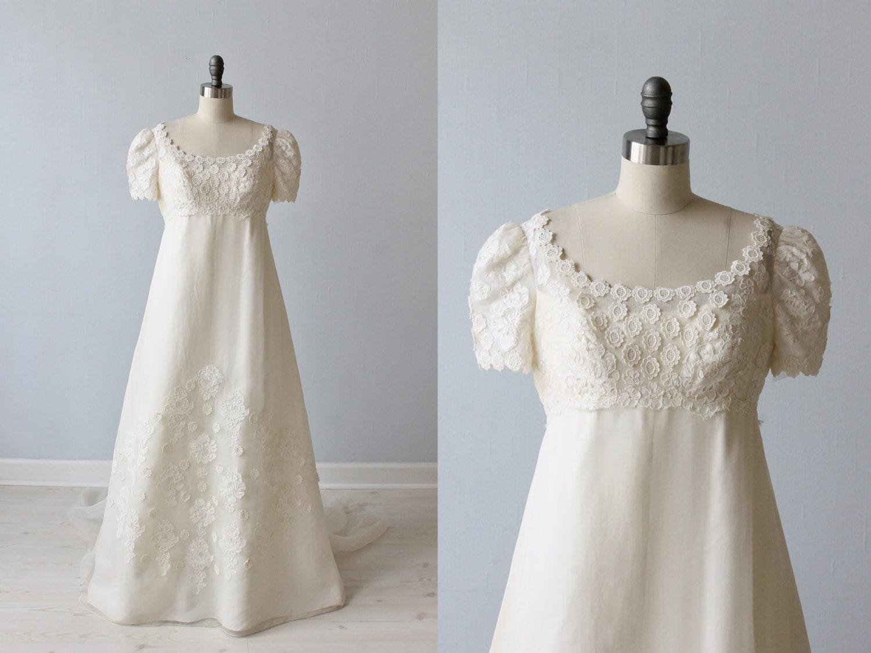 Vintage lace 1960s wedding dress empire waist a line for A line empire waist wedding dress