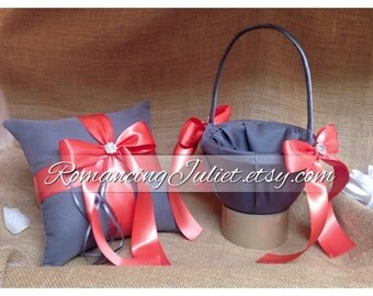 Custom Colors Satin Elite Ring Bearer Pillow and Flower Girl Basket Set...You Choose the Colors...shown in charcoal gray/guava coral