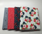 SUMMER SALE - Daysail - Fat Quarter Bundle (4) - Navy and Red - by Bonnie and Camille for Moda Fabrics