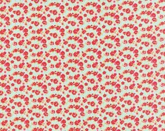 BLACK FRIDAY SALE - 1 yards - Little Ruby -  Little Rosie in Aqua (55138-12) - Bonnie and Camille for Moda Fabrics