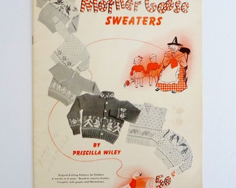 Vintage Knitting Patterns for Children Booklet - 1950's Mother Goose Nursery Rhyme Sweaters - Ages 6 Months to 6 Years