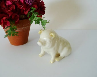 Vintage Pottery Pig Figurine, Belleck Ireland, Off White With Beige Opalescent Ears, Hooves 1980's