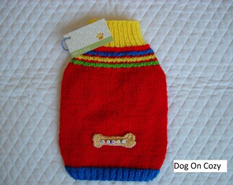 Appliqued Dog Sweater, Hand Knit Pet Sweater, XSMALL, My Bone, Personalized with Dogs Name