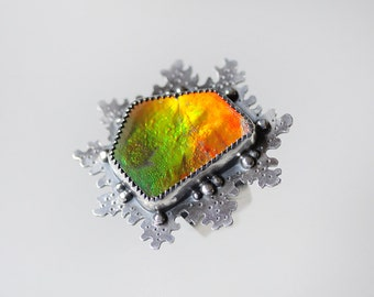 Large Ammolite Ring/ Statement Ring/ Intense Fire Ammolite/ Strong Orange Gold and Green Fire/ Ammonite Ring/ Textured Sterling Ring/ Size 6