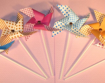 NEW - Graphic Pinwheel Collection  (Qty 12)  Pinwheels, Decorative Pinwheels, Table Top Center Pieces, Table Top Party Props