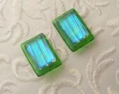 Dichroic Fused Glass Earrings - Button Earrings - Dichroic Earrings - Stud Earrings - Post Earrings - Small Earrings - Green Earrings 1658