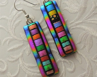 Hippie Earrings - Dichroic Fused Glass Earrings - Dichroic Earrings - Hippie Jewelry - Bohemian Earrings - Rainbow Earrings - Boho  X6589