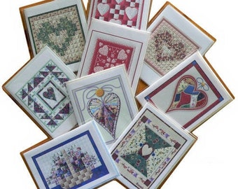 Note Cards, Blank, 9 Quilt Design Folk Art , Country Hearts, Flowers, Patchwork, Quilts, Variety of 9. Mix or Match