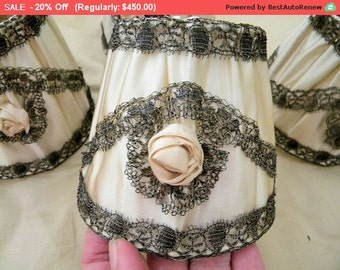 Summer SALE- Vintage Ribbonwork Lamp Shades Flapper Metallic Lace French