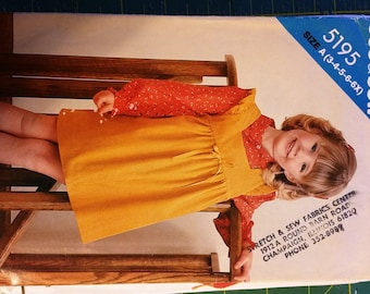 See & Sew pattern - Little Girl's Jumper Size A (3,4,5,6,6x) Used but Complete