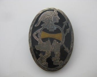 Vintage Sterling Silver Mexico Aztec Bolo Tie Pin