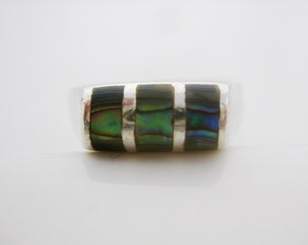 Size 9 Vintage Sterling Silver Rainbow Abalone Shell Ring Band