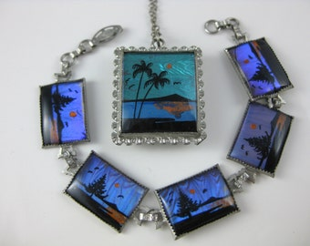 Necklace, Bracelet Set, Sterling Silver, Genuine Butterfly Wing, Hand Painted, Butterfly Wing Jewelry, Colorful, Skyline, Beach Scene,