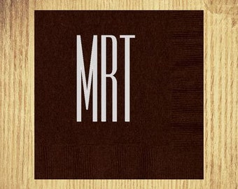 Espresso Cocktail Napkins: Your Choice of Monogram and Ink Color