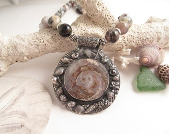 Mystic Sea Fine Silver and Fossil Agate Sea Shell Necklace with Dolphins Beach Black Moss Agate Beads Gifts for Her OOAK