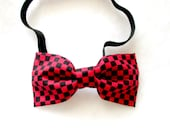 Adult Red and Black Checkered Elastic Bow Tie