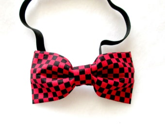 Red and Black Checkered Elastic Bow Tie