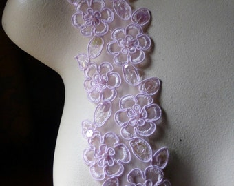 Pink Beaded Lace Trim with Faux Pearls for Bridal, Garter Trim, Appliques, Veils, Costumes BL 4001pk